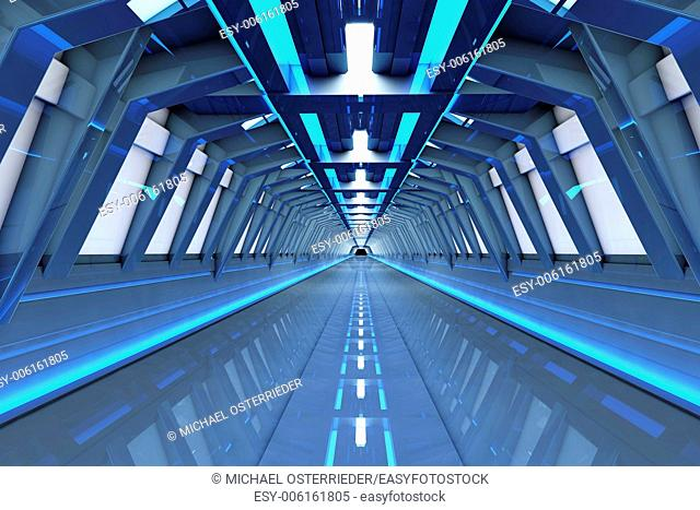 A futuristic tunnel interior. 3D rendered Illustration