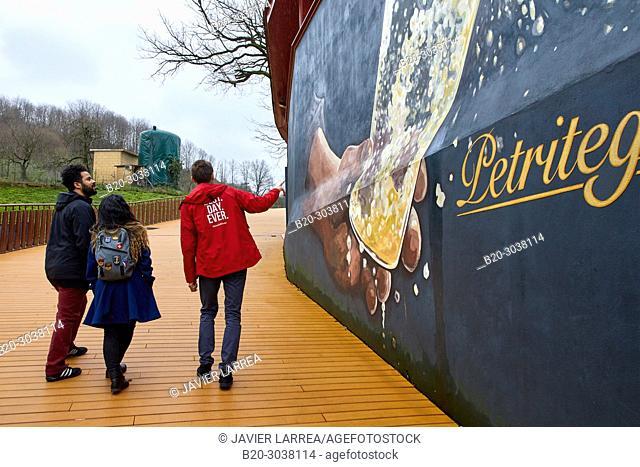 Tourists on a guided tour, Cider house, Sidreria Petritegi, Astigarraga, Gipuzkoa, Basque Country, Spain, Europe