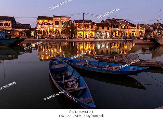 View of Hoi An at dusk. Hoi An is an UNESCO World Heritage site in Vietnam
