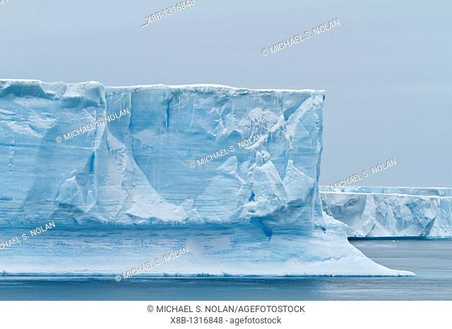 Tabulat iceberg detail in and around the Weddell Sea during the summer months, Southern Ocean  MORE INFO An increasing number of icebergs are being created as...
