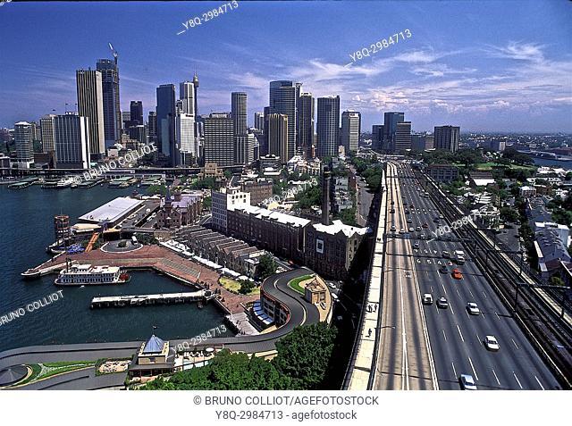 Sydney Harbor Bridge View of Downtown Sydney, NSW, Australia