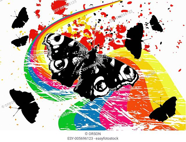 Grunge butterflies on a rainbow