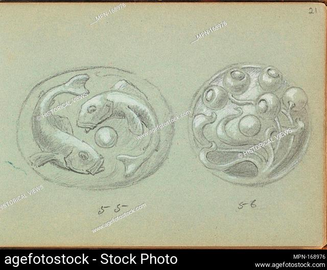 Two Designs A Push Bell. Artist: Edgar Gilstrap Simpson (British, 1867-1945 (presumed)); Date: 1899; Medium: Graphite and gouache; Dimensions: sheet: 3 1/2 x 5...