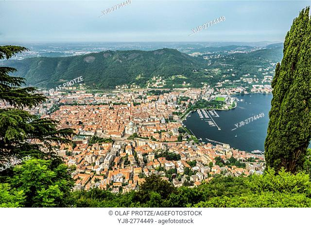 Aerial view from Brunante at the city center of Como, Lombardy, Italy