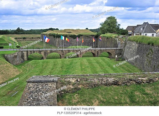 Bridge and ramparts of the fortified city Rocroi / Rocroy, Ardennes, France