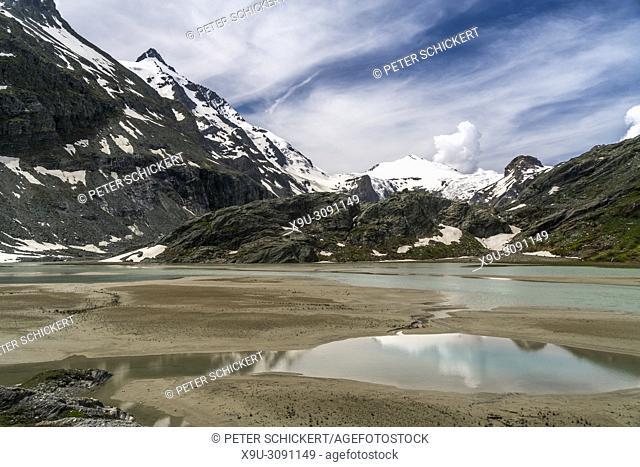 Glacier lake, Grossglockner mountain and Pasterze glacier, High Tauern National Park, Carinthia, Austria