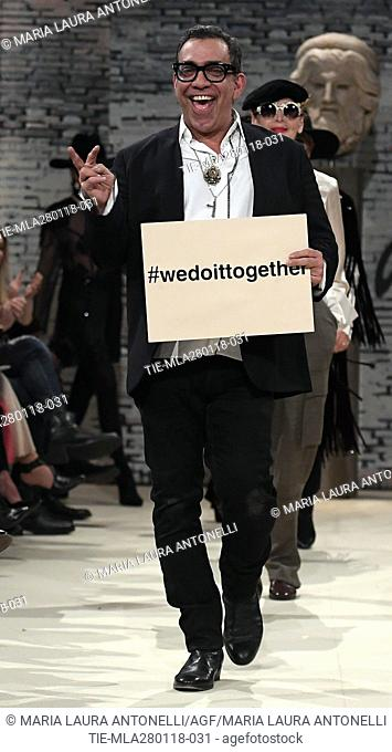 the designer Guillermo Mariotto during the Gattinoni fashion show, Rome, ITALY-28-01-2018
