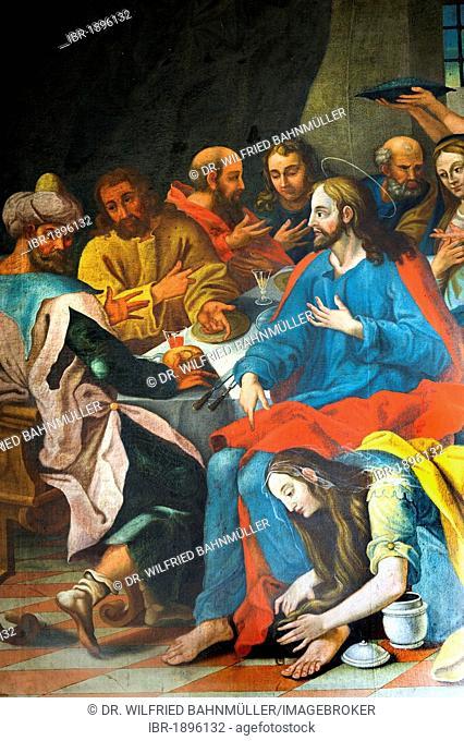 Mary Magdalene anointing Jesus' feet, the Feast of Simon Pharisee, Church of the Holy Cross on Calvary, Bad Toelz, Upper Bavaria, Bavaria, Germany, Europe