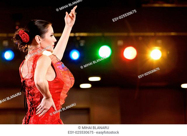 Sexy flamenco dancer performing her dance in a red long dress, arm up..