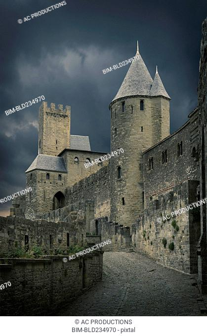 Storm clouds over castle in Carcassonne, Languedoc-Roussillon, France