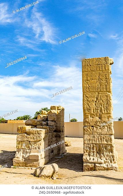 UNESCO World Heritage, Thebes in Egypt, Deir el Chelwit, temple of Isis, Ptolemaic and Roman period. A monumental gate