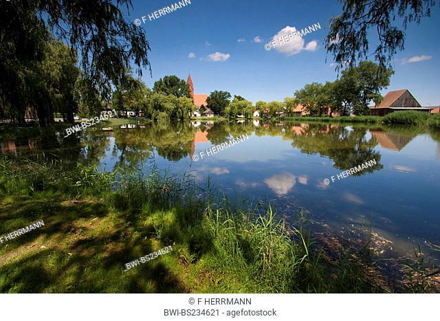 view over a lake at the small town close to Angermuende, Germany, Brandenburg, Vogtlaendische Schweiz, Greiffenberg