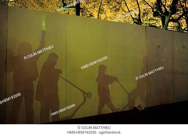 France, Rhone, Lyon, Fete des Lumieres Light festival, Decembre 8th, Croix Rousse district, Phosphene, luminous interactive installation