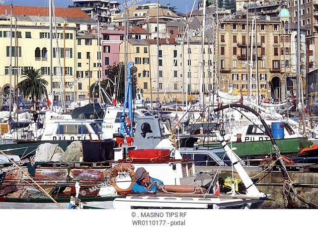 Italy, Liguria, Savona, the old harbour