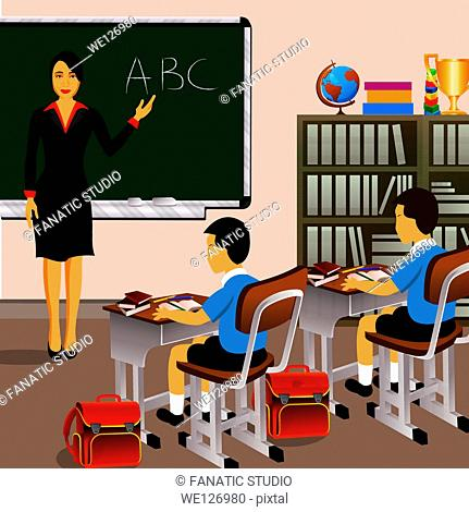 Female teacher with students in a classroom