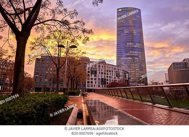 Iberdrola tower, Abandoibarra, Bilbao, Bizkaia, Basque Country, Spain, Europe