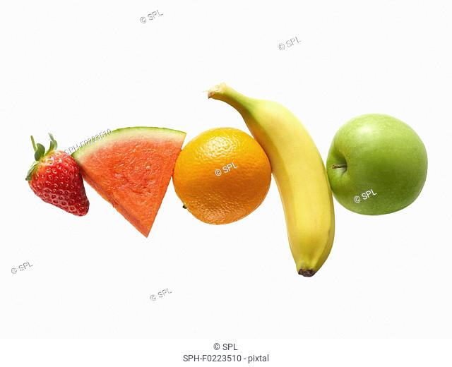 Fresh fruit in a row
