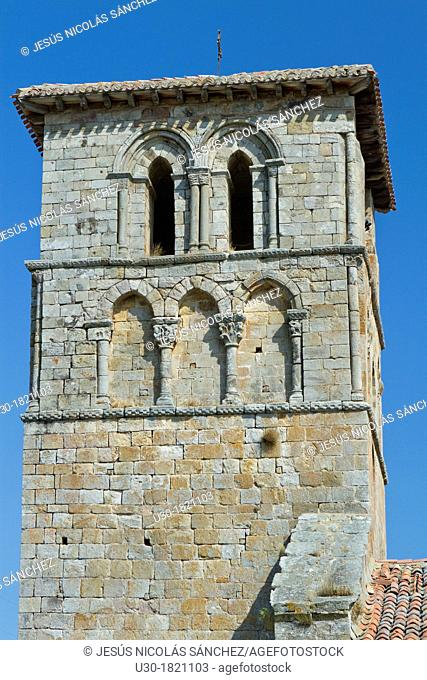 Tower of San Pedro collegiate, in Cervatos village, Campoo de Enmedio, considered as one of the most important romanesque churches of Cantabria and specially...