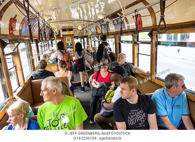 Australia, Victoria, Melbourne, Central Business District, CBD, La Trobe Street, tram, trolley, City Circle Line, inside, cabin, car, passengers, riders