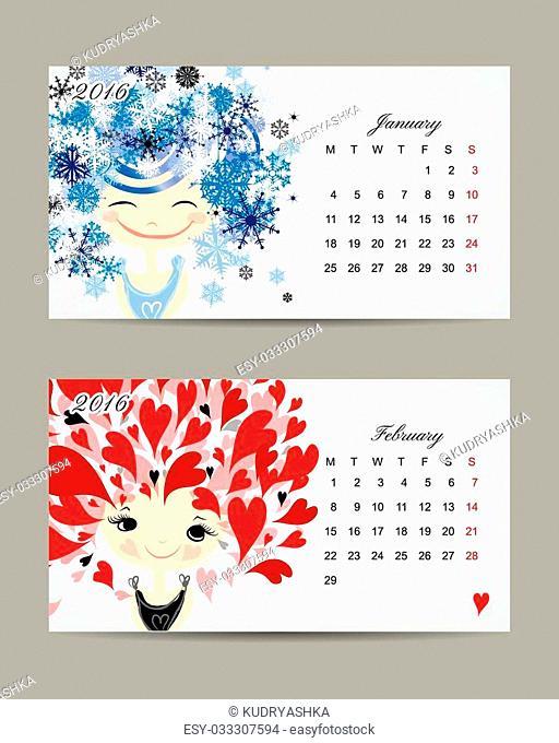 Calendar 2016, march and april months. Season girls design. Vector illustration