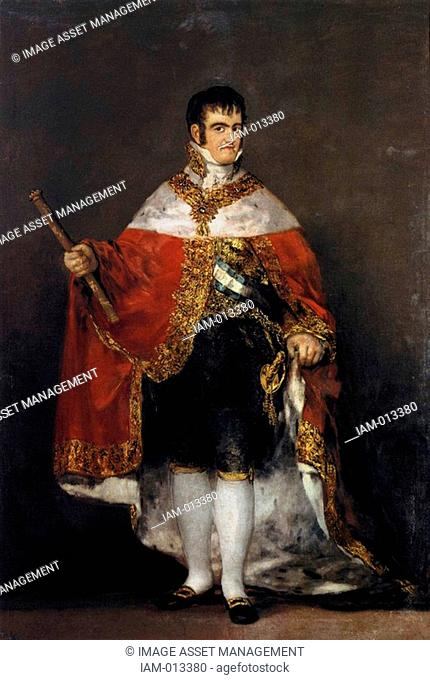 Fernando VII 1784-1833 King of Spain 1808 and 1813-1833. Portrait by Francisco Goya, Spainish painter and printmaker Oil on canvas, 1814