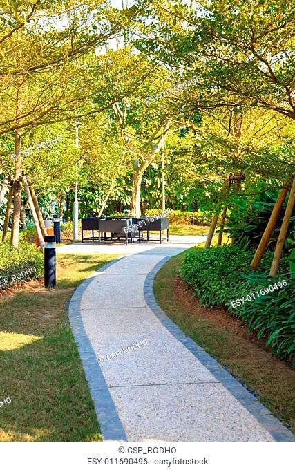 Tranquil Garden with footpath through