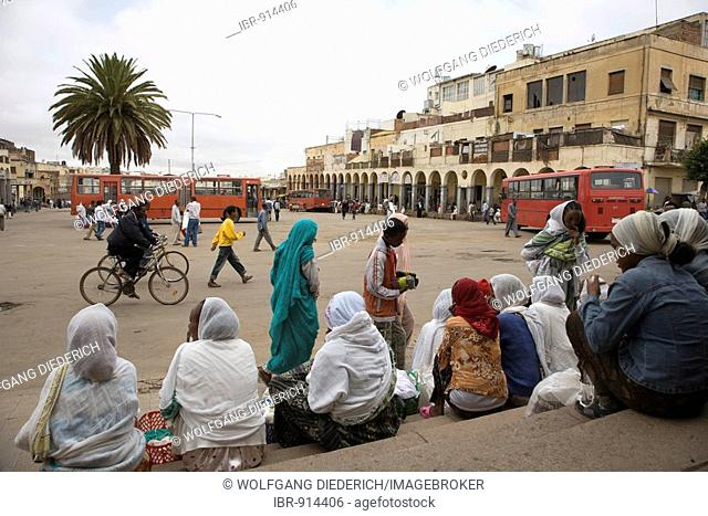People at a bus staion in the capital, Eritrea Square, Asmara, Eritrea, Horn of Africa, East Africa