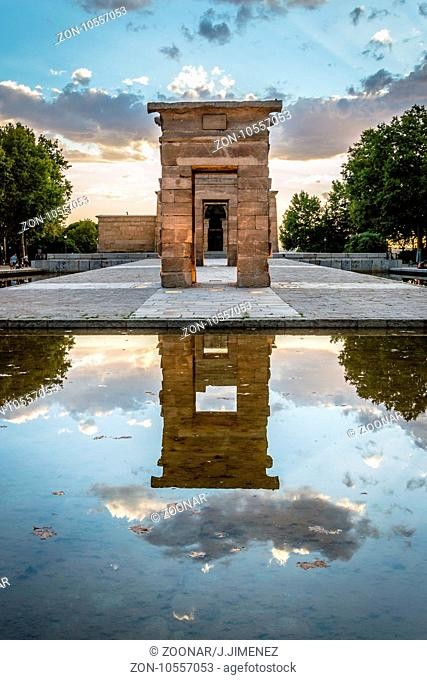 Sunset on Temple of Debod in Madrid