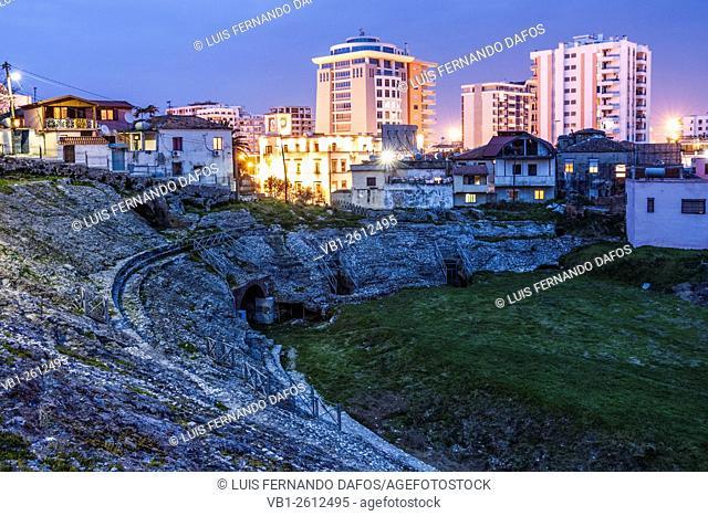 Durres Amphitheatre at dusk. Albania
