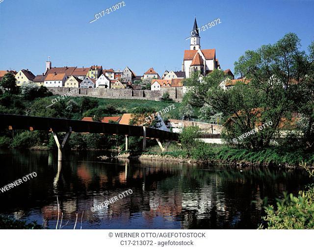 Germany. Nabburg, Upper Palatinate Forest, Upper Palatinate, Bavaria, Naab promenade, wooden footpath