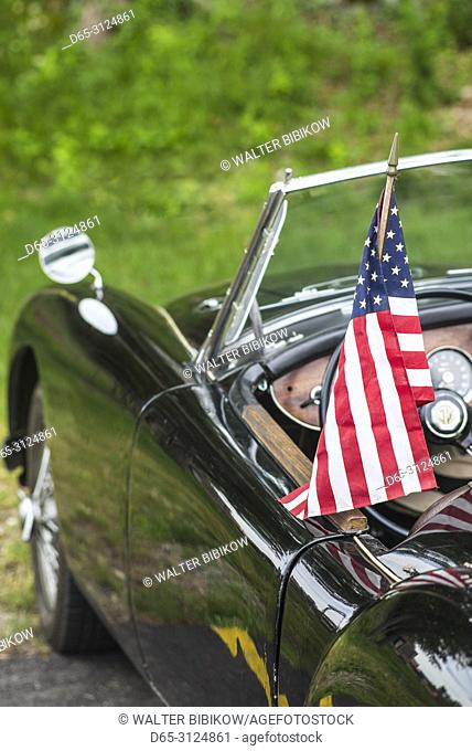 USA, New England, Massachusetts, Beverly, antique cars, 1960's-era MG-A sportscar