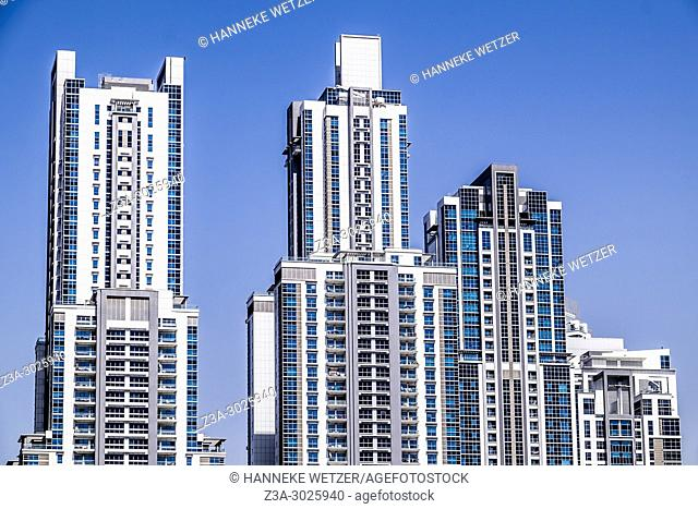 The executive towers. Brand new modern architecture in Business Bay, a business capital as well as a freehold city in Dubai, United Arab Emirates
