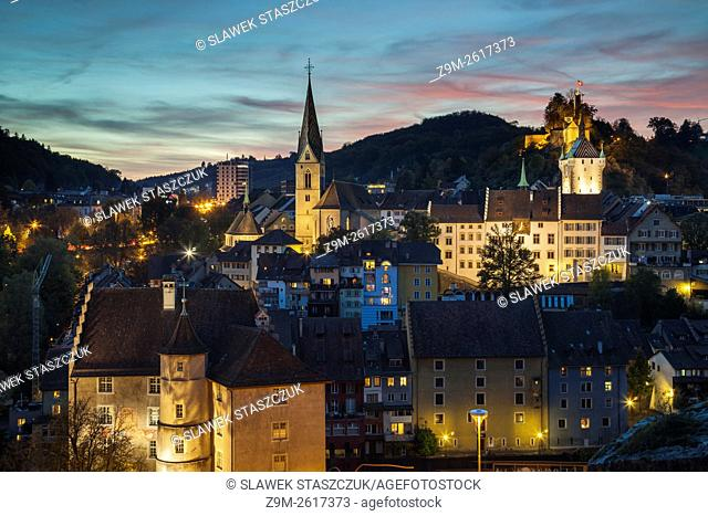 Evening in Baden, canton Aargau, Switzerland