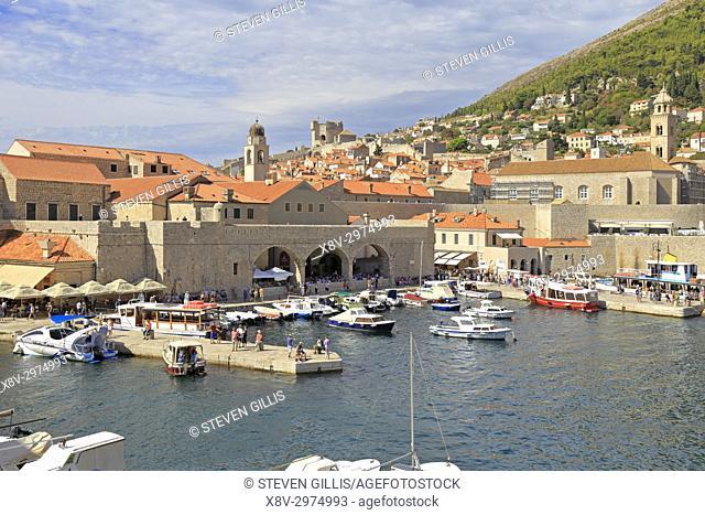 Old Port in Dubrovnik Old City, Croatia, UNESCO world heritage site, Dalmatia, Dalmatian Coast, Europe