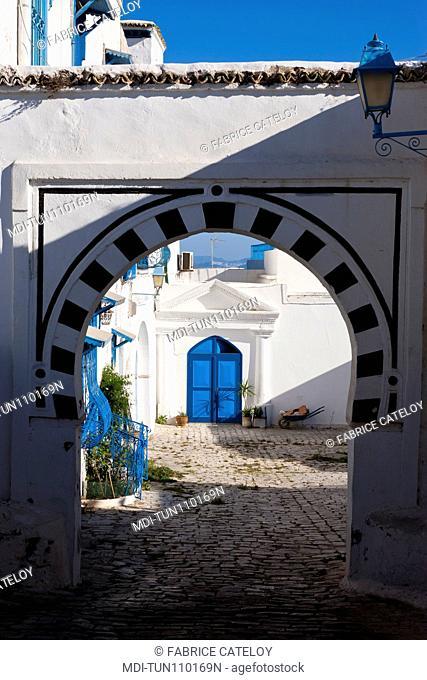 Tunisia - Sidi Bou Said - Courtyard in the village