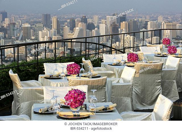 THA Thailand Bangkok Restaurant Bar Vertigo 61.th floor. Roof of the Banyan Tree Hotel Bangkok , view over the city
