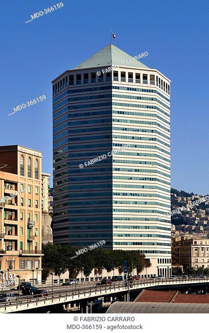 Il Matitone: San Benigno Torre Nord, by Skidmore, Owings & Merrill (SOM), 1992, 20th Century, . Italy; Liguria; Genoa; Sampierdarena; Sampierdarena grattacielo...