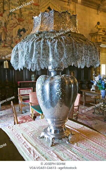 Antique lamp in Hearst Castle, America's Castle, San Simeon, Central California Coast