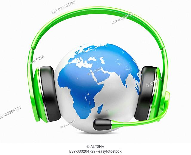 Earth planet with green earphones and microphone. 3d illustration isolated on a white background
