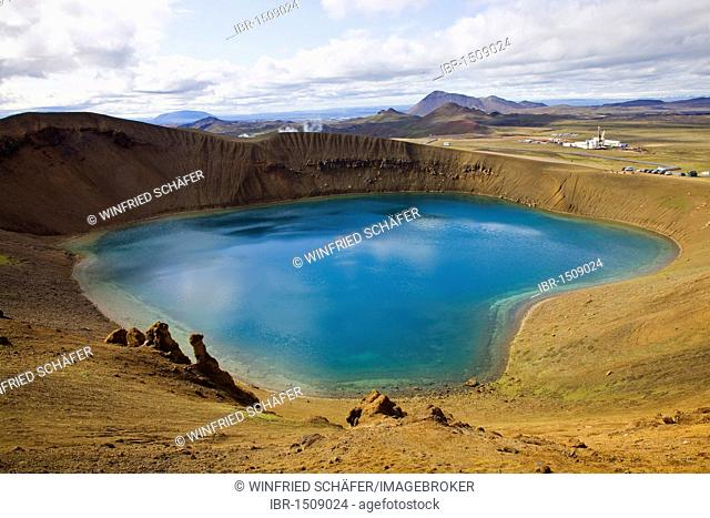 View from the Víti explosion crater over the Krafla Geothermal Area, Lake Mývatn area, Northern Iceland, Iceland, Europe
