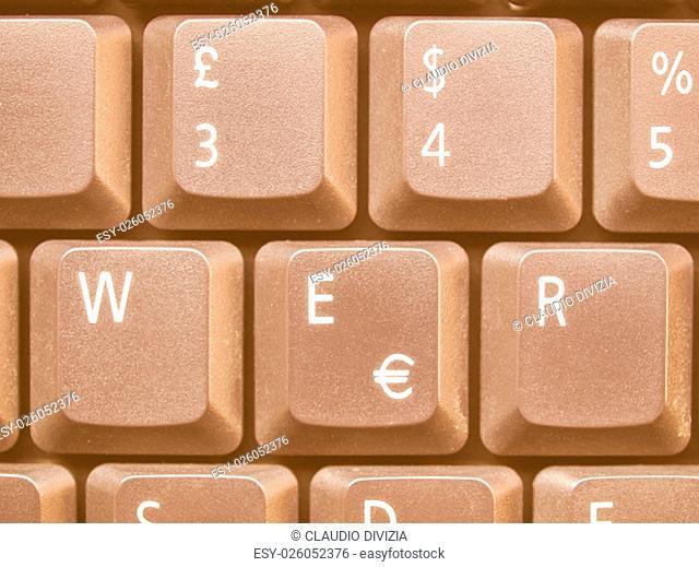 Detail of keys on a computer keyboard vintage