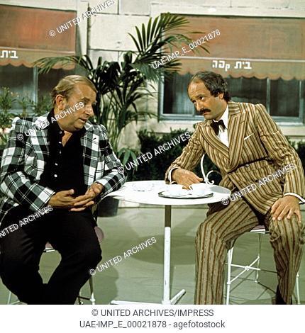 Sketch nach Ephraim Kishon mit Klaus Schwarzkopf (links) und Peter Vogel, Deutschland 1970er Jahre