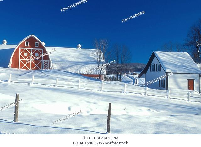 red barn, Vermont, VT, Snow-covered red barn, white farmhouse, red door, Diamond Heart Farm, East Albany, winter