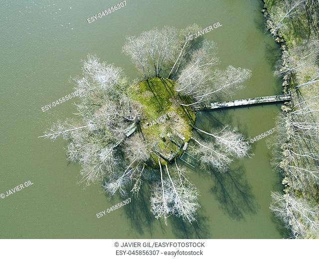 Island in the lake, Saint-Gondon, Loiret, Centre-Val de Loire, France