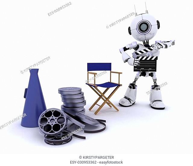 3D Render of a Robot in directors chair with megaphone