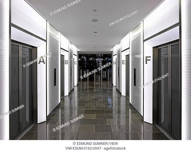 60 London at Holborn Viaduct, London, United Kingdom. Architect: Kohn Pedersen Fox Associates (KPF), 2014. Lift lobby on 3rd floor