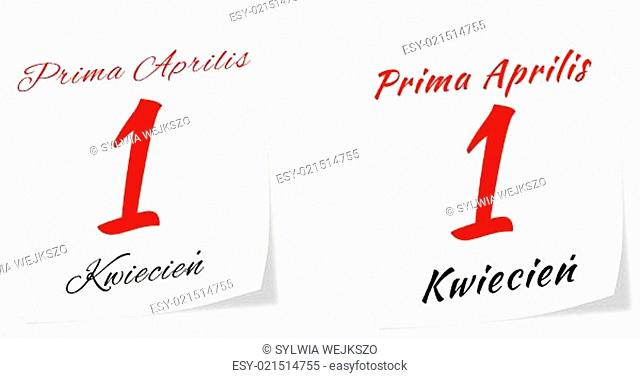 Calendar page with date of All Fool's Day on 1 st April 2014 in Polish