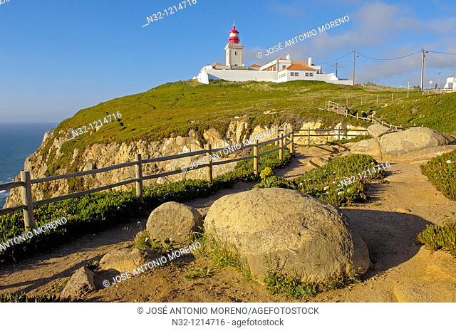 Cabo da Roca  Lighthouse at Cape da Roca  Lisbon district  Sintra coast  Portugal  Europe