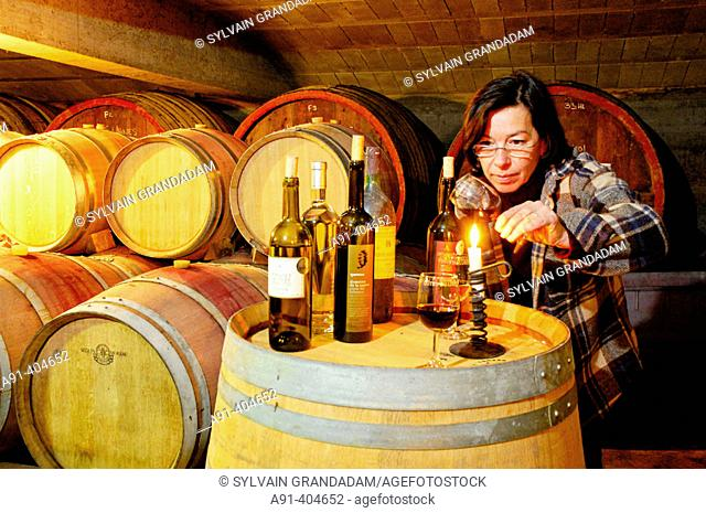 Anne Hugues, owner of Domaine de la Royère winery in Oppède. Luberon region, Vaucluse. Provence, France