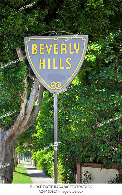 Beverly Hills street sign, Los Angeles, California, USA